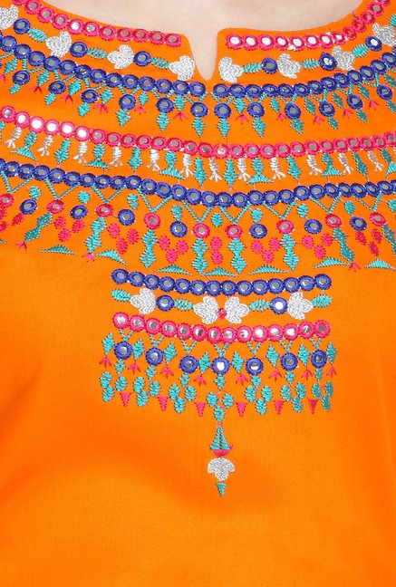 Varanga Orange & Fuchsia Embroidered Cotton Kurta With Skirt
