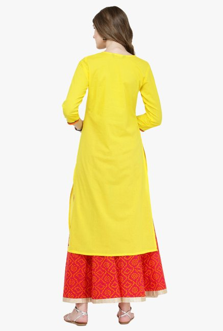 Varanga Yellow & Pink Embroidered Cotton Kurta With Skirt