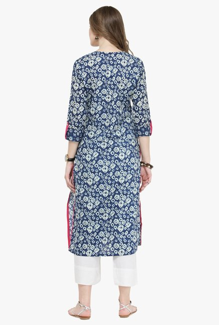 Varanga Indigo & White Printed Cotton Kurta With Pants