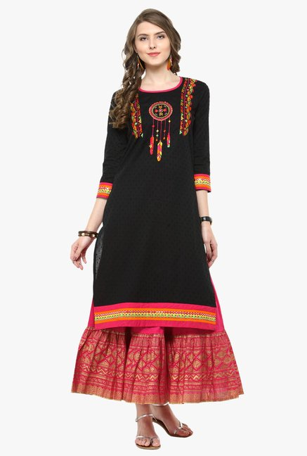 f4aa00478f Buy Varanga Black & Fuchsia Embroidered Cotton Kurta With Skirt for Women  Online @ Tata CLiQ