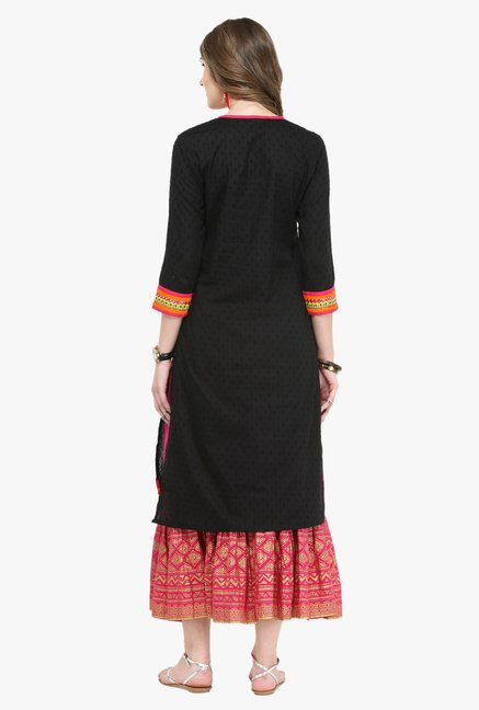 Varanga Black & Fuchsia Embroidered Cotton Kurta With Skirt