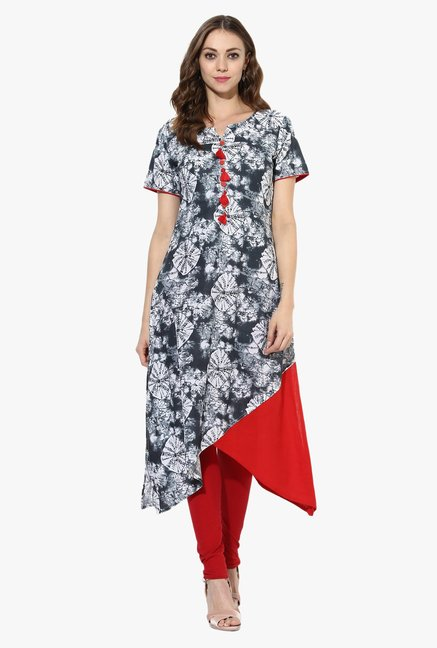 Mytri Grey Printed Cotton High Low Kurta