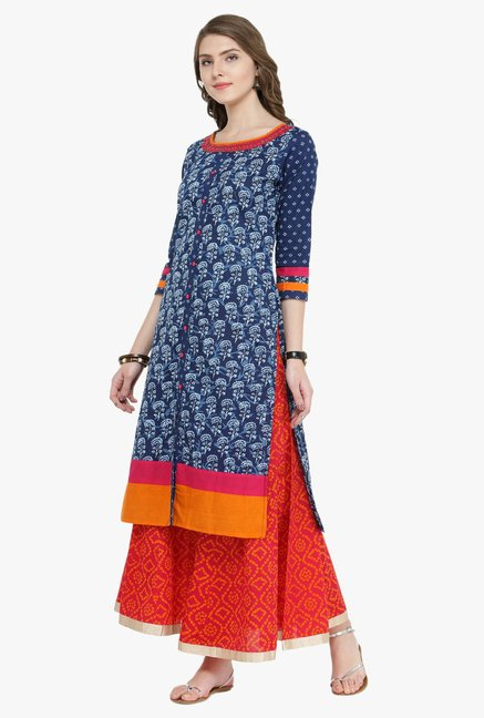 Varanga Indigo & Pink Printed Cotton Kurta With Skirt