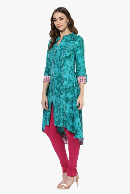 Mytri Turquoise Printed Rayon High Low Kurta