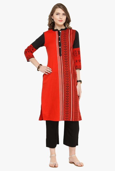 Varanga Red & Black Printed Cotton Kurta With Pants