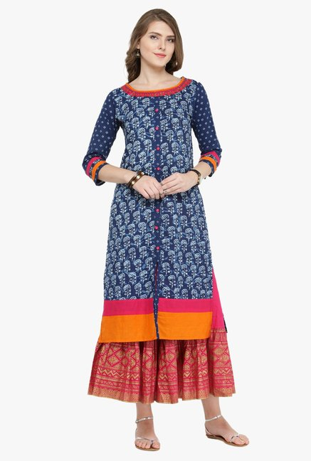 Varanga Indigo & Fuchsia Printed Cotton Kurta With Skirt