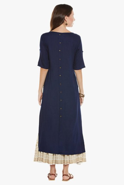 Varanga Navy Embroidered Kurta