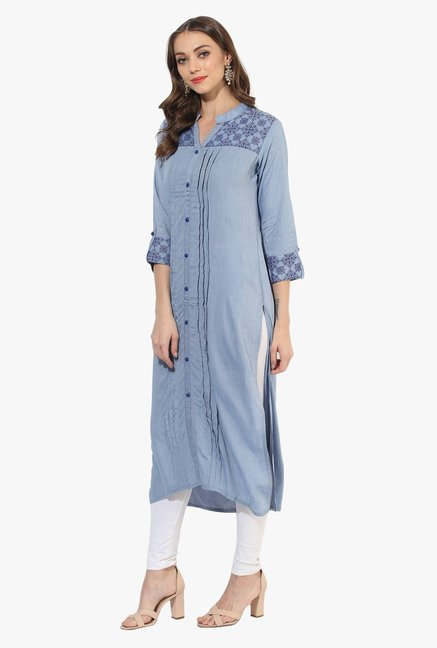 Mytri Light Blue Printed Chambray Straight Kurta