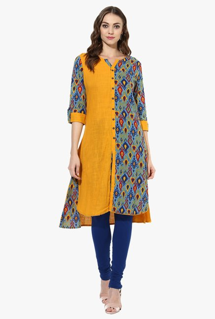 Mytri Mustard Printed Cotton Straight Kurta