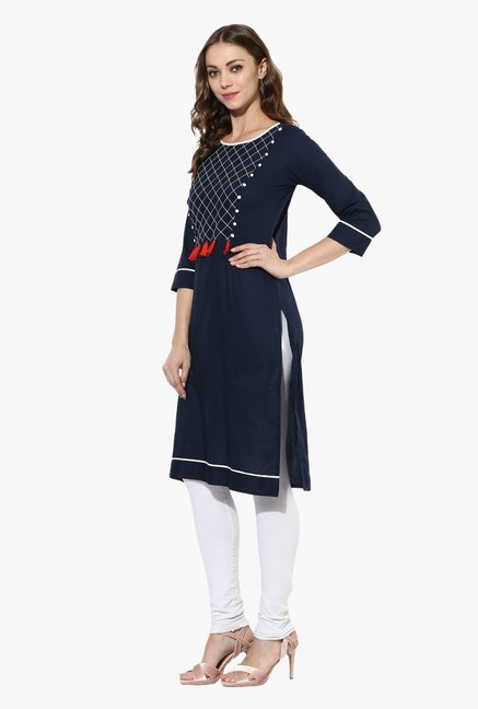 Mytri Navy Embroidered Cotton Straight Kurta