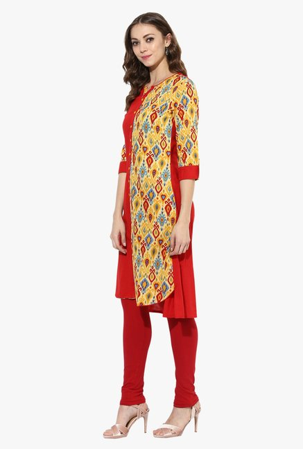 Mytri Red Printed Cotton Straight Kurta