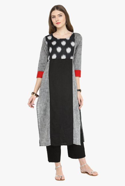 Varanga Grey & Black Printed Kurta