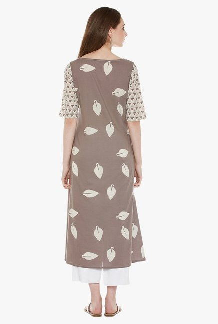 Varanga Beige & White Printed Cotton Kurta With Pants