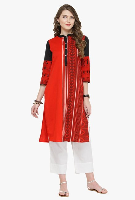 Varanga Red & White Printed Cotton Kurta With Pants
