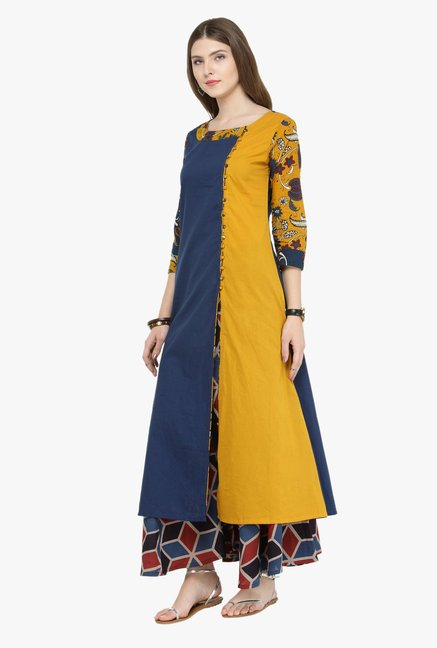 Varanga Navy & Yellow Printed Kurta