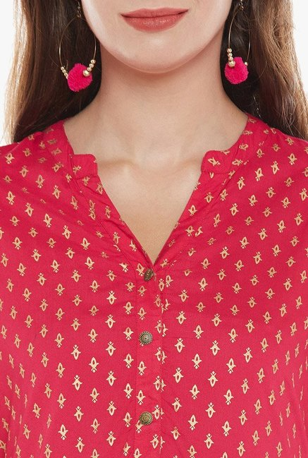 Varanga Pink & Black Printed Kurta With Skirt