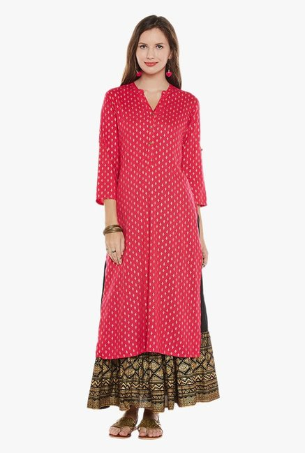 cc7573eb15 Buy Varanga Pink & Black Printed Kurta With Skirt for Women Online @ Tata  CLiQ