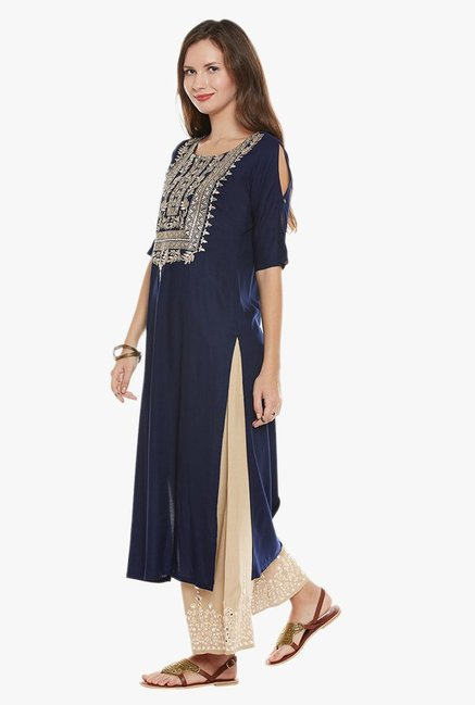 Varanga Navy & Beige Embroidered Kurta With Palazzo