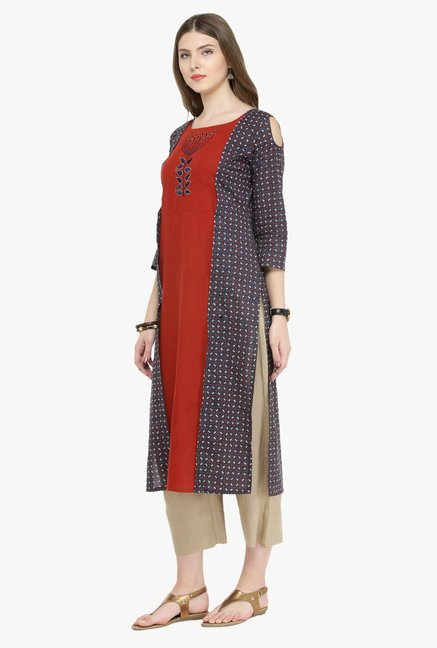 Varanga Maroon & Beige Embroidered Cotton Kurta With Pants