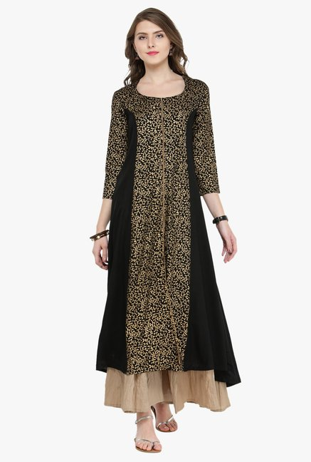 Varanga Black & Gold Printed Kurta