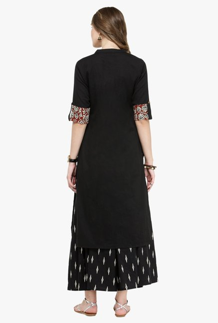 Varanga Black Cotton Kurta With Palazzo