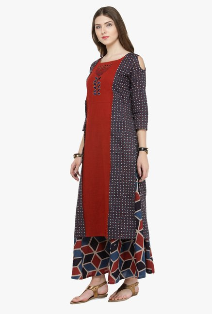 Varanga Multicolor Embroidered Cotton Kurta With Palazzo