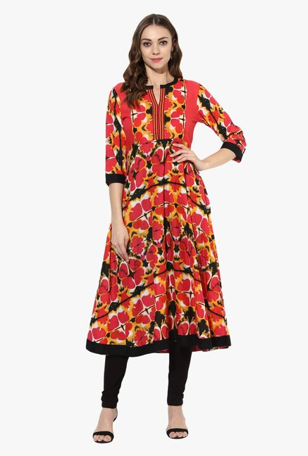 Mytri Pink & Black Printed Cotton Anarkali Kurta