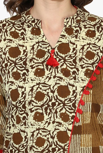 Mytri Brown Printed Cotton A Line Kurta