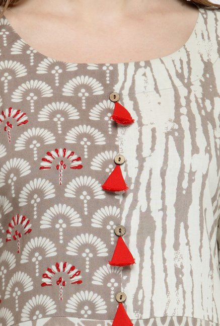 Varanga Beige & Red Printed Kurta With Pants