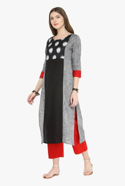 Varanga Grey & Red Printed Kurta With Pants