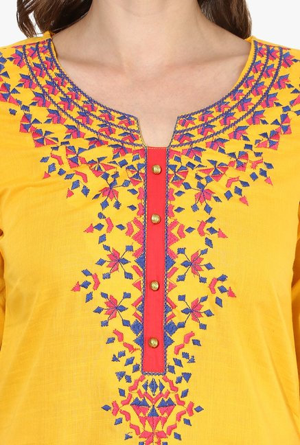 Mytri Yellow Embroidered Cotton Straight Kurta