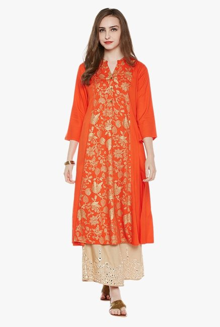 Varanga Orange & Gold Printed Kurta