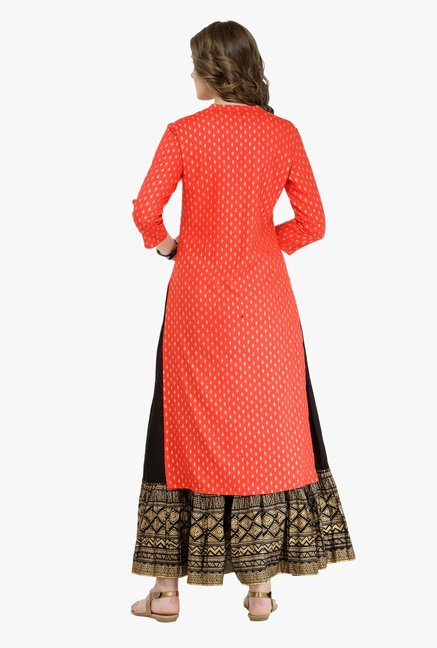 Varanga Red & Black Printed Kurta With Skirt
