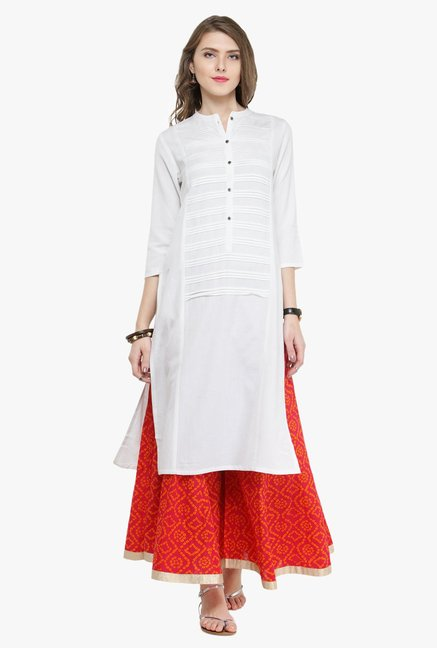 Varanga White & Pink Regular Fit Kurta With Palazzo