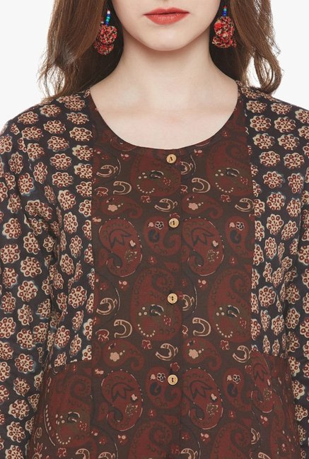 Varanga Brown Printed Kurta