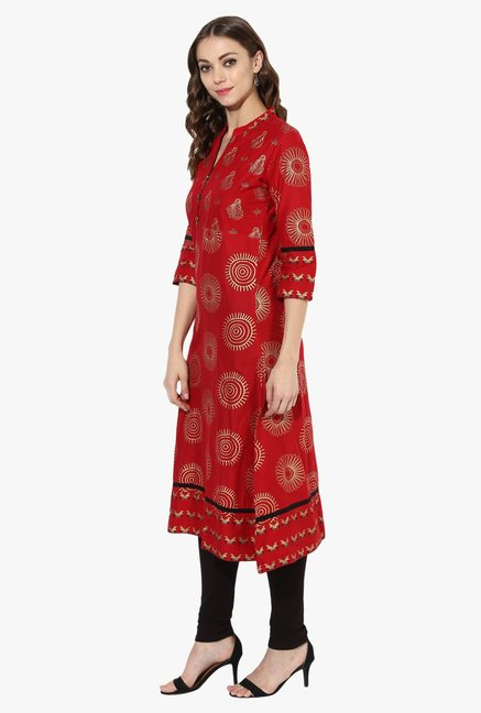 Mytri Red Printed Cotton A Line Kurta