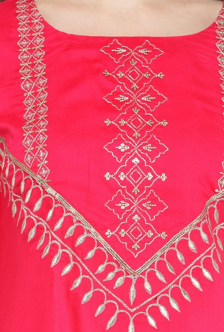 Varanga Pink & Beige Embroidered Kurta With Palazzo