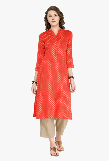 Varanga Red & Beige Printed Kurta With Pants