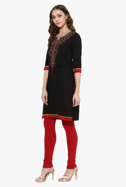 Mytri Black Embroidered Cotton Straight Kurta