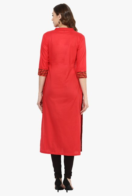 Mytri Red Cotton Straight Kurta
