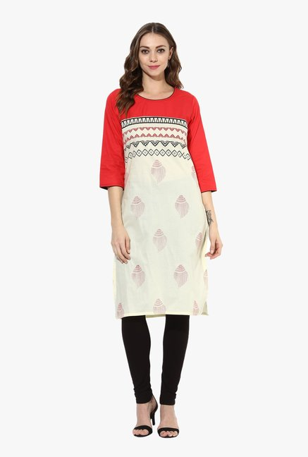Mytri Off White & Red Printed Cotton Straight Kurta