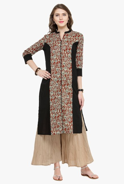 Varanga Black & Beige Printed Cotton Kurta With Palazzo