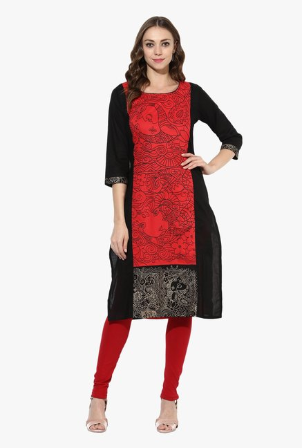 Mytri Red & Black Printed Cotton Straight Kurta
