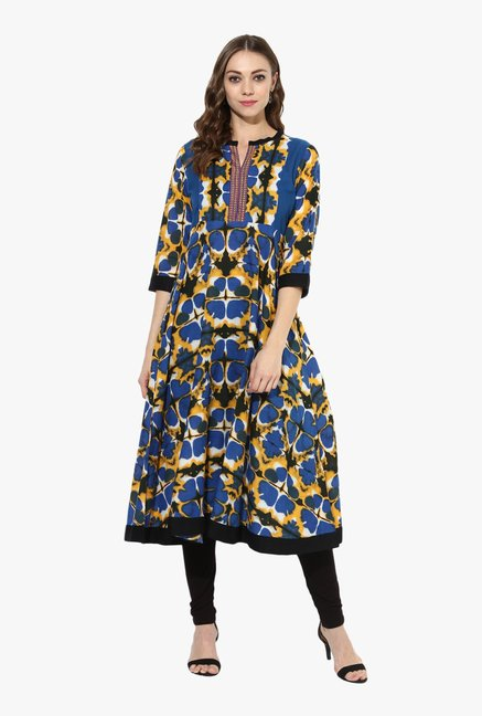 Mytri Blue & Black Printed Cotton Anarkali Kurta