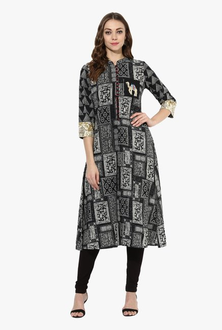 Mytri Black Printed Cotton A Line Kurta