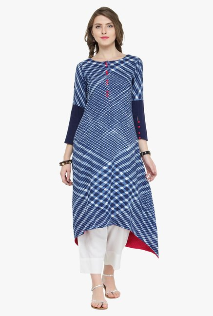Varanga Indigo & White Geometric Print Kurta With Pants