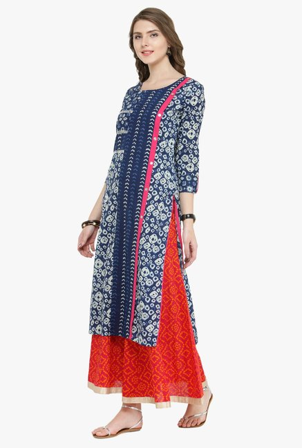 Varanga Indigo & Pink Printed Cotton Kurta With Palazzo