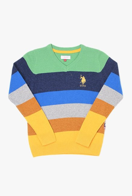 49feebd6d Buy US Polo Multicolor Textured Sweater for Boys Clothing Online   Tata CLiQ