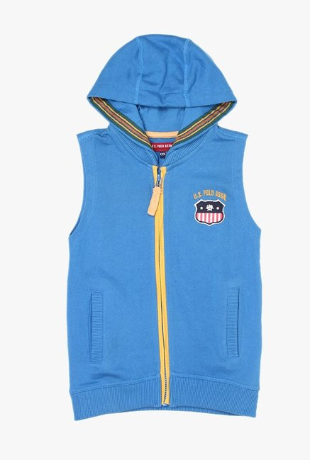 e6202a00d55ba Buy US Polo Light Blue Solid Hoodie for Boys Clothing Online   Tata CLiQ