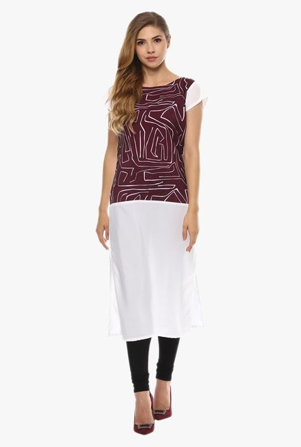 Ziyaa Brown & White Printed Kurta